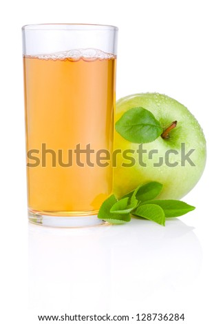 Apple juice in glass and green juicy apple with green leaf on white background - stock photo