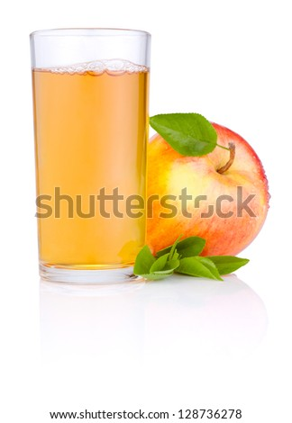 Apple juice in glass and Red juicy apple with green leaf on white background - stock photo