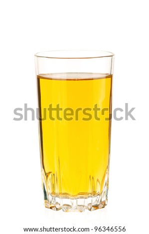Apple juice in glass isolated on white background