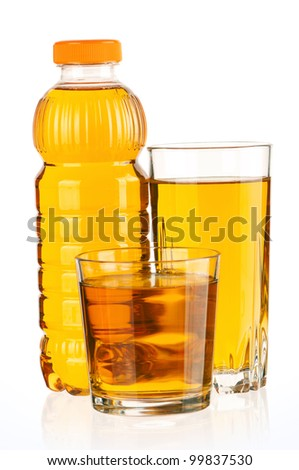 Apple juice in plastic bottle and glass isolated on white background