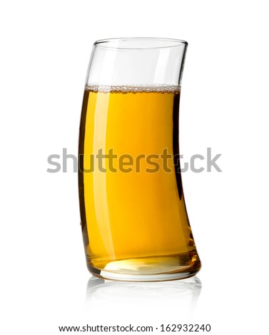 Apple juice on white background with clipping path