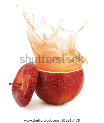 Apple juice splashing isolated on white - stock photo