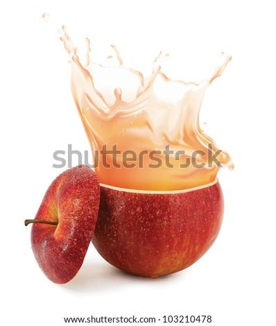 Apple juice splashing isolated on white - stock photo