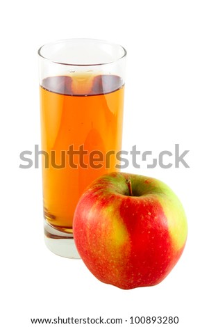 Apple juice with one apple  isolated on white