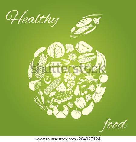 Apple made of fruits vegetables meat and grocery healthy organic food concept  illustration - stock photo