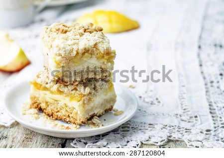 Apple mango cream cheese oat bars. the toning. selective focus - stock photo