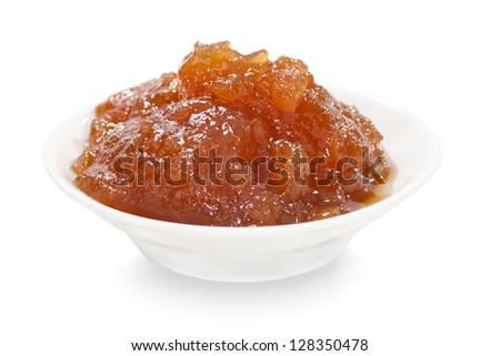 Apple marmalade isolated on white background - stock photo
