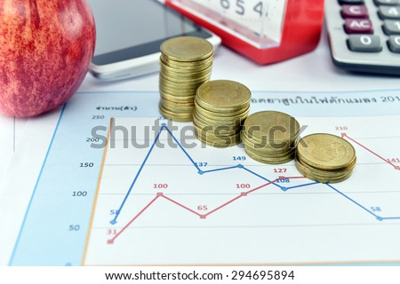 Apple, money,clock, telephone and calculator placed on document., concept for business