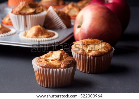 apple muffins on a black background