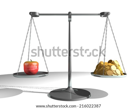 Apple on a scale, counterbalanced by a large amount of gold coins, against a white background. Very high resolution 3D render.