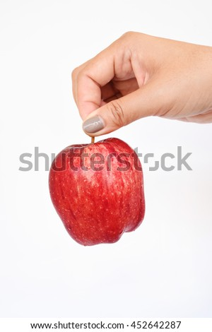 Apple on hand isolated on white background