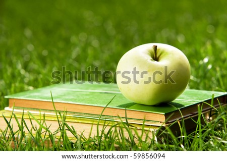 Apple on pile of books on grass. Education concept, back to school. - stock photo