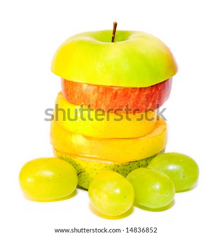 apple on top of isolated Mixed fruits over white