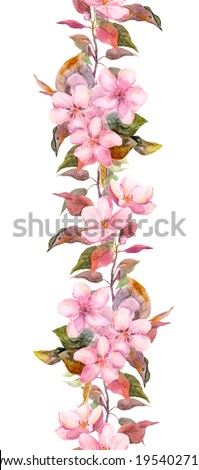 Apple or cherry pink flowers. Seamless floral stripe frame. Botanical watercolour painted edging - stock photo