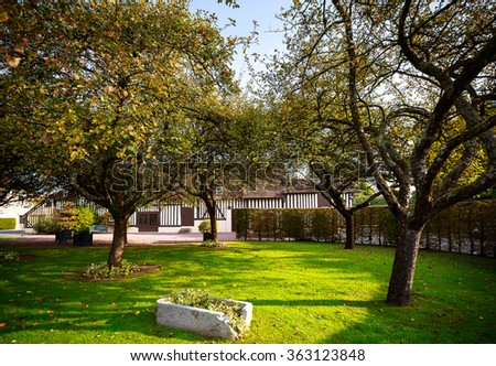 apple orchard in the village of Calvados, Normandy, France - stock photo