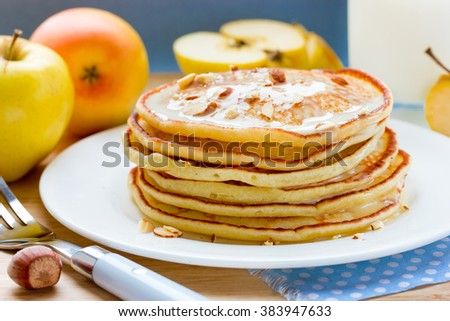 Apple pancakes stack. Delicious dish for breakfast selective focus