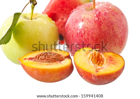 apple, peach and watermelon on a white background - stock photo