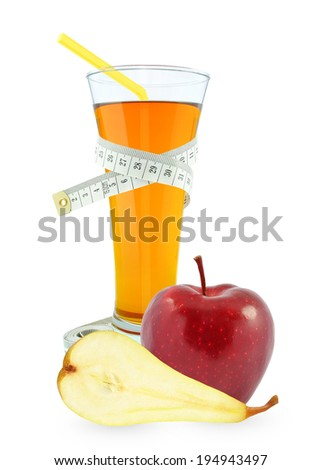 apple-pear juice in glass and meter on a white background