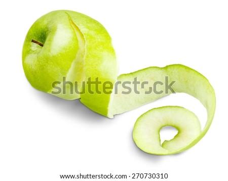 Apple, Peel, Peeled. - stock photo