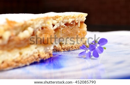 Apple pie and blue flower on a plate with blue smudge. Dark background.Closeup, selective focus. - stock photo