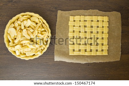 Apple pie being made with lattice top - stock photo