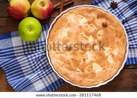 "Apple Pie ""Charlotte"" . Top view - stock photo"