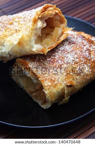 apple pie closeup on plate.shallow DOF - stock photo