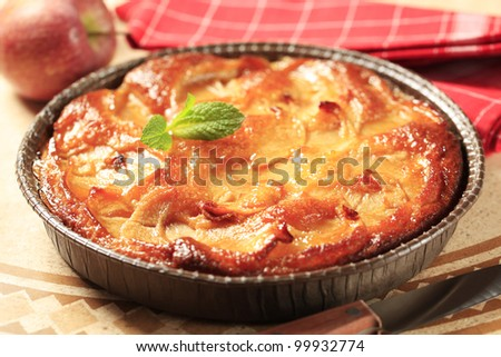 Apple pie in a round paper pan - stock photo