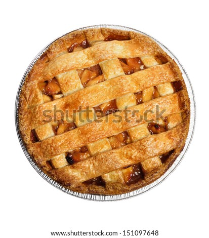 Apple Pie Isolated On White , Top View  - stock photo