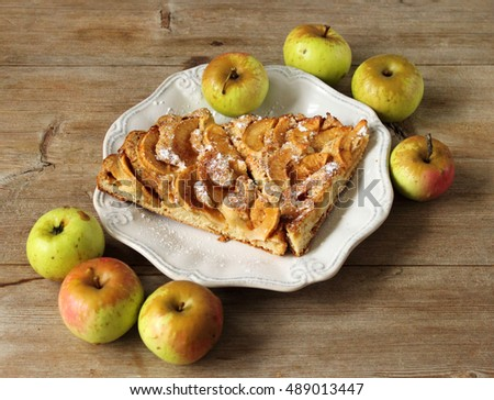 Apple pie sharlotka pieces on white bone plate with apples on wooden vintage table