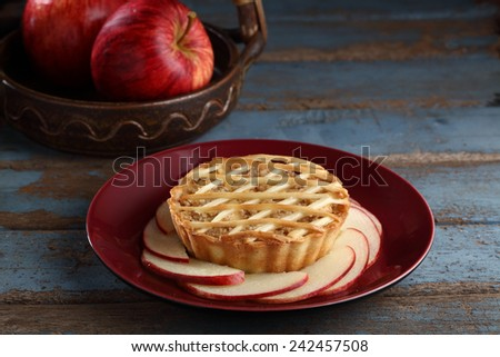apple pie with apples - stock photo
