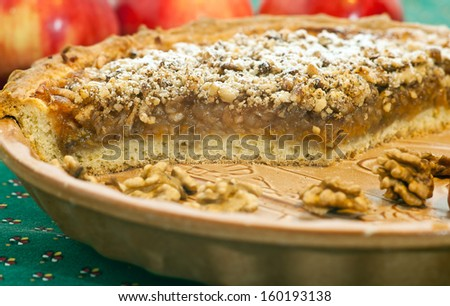 Apple pie with apples and nuts - stock photo