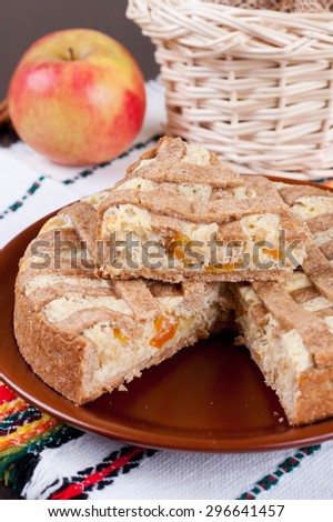 apple pie with cheese cream, closeup, vertical