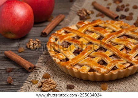 Apple pie with cinnamon and raisins on retro wooden background texture - stock photo