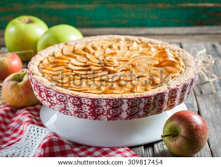 apple pie with cottage cheese. - stock photo
