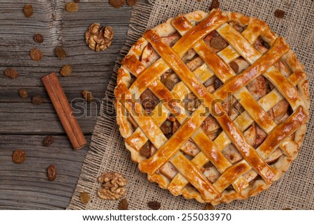 Apple pie with raisins and cinnamon on vintage wooden background texture. Top view - stock photo