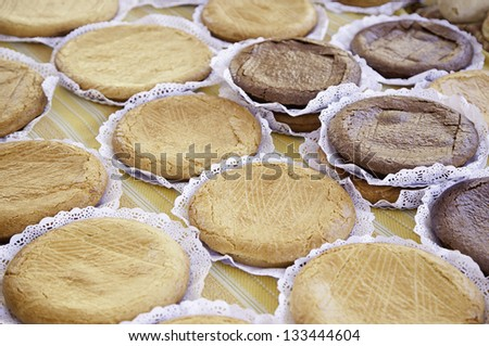 Apple pies and chocolate, detail of homemade desserts, traditional food, diet - stock photo