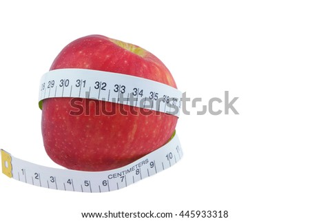 Apple Red Measure around the waist  Isolated on white background - stock photo