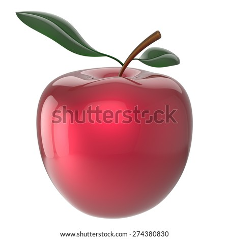 Apple red ripe fruit nutrition antioxidant fresh fruit exotic agriculture icon. 3d render isolated on white background - stock photo