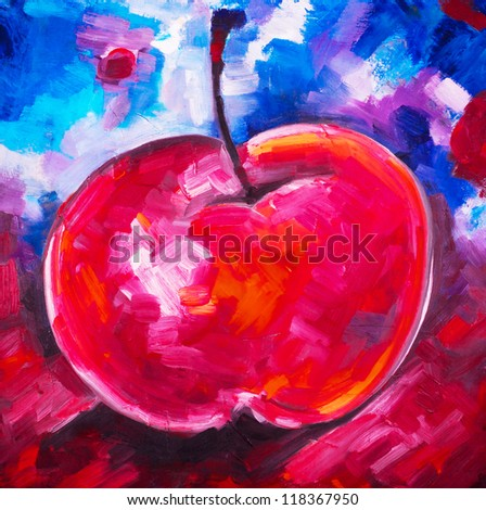 Apple ripe red with a branch and a leaflet, reflection on a dark blue black gray background drawn by oil paint by convas - stock photo