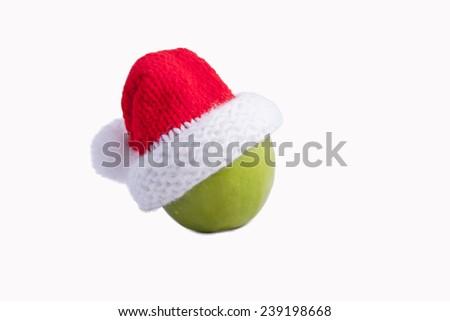 Apple santa hat - stock photo