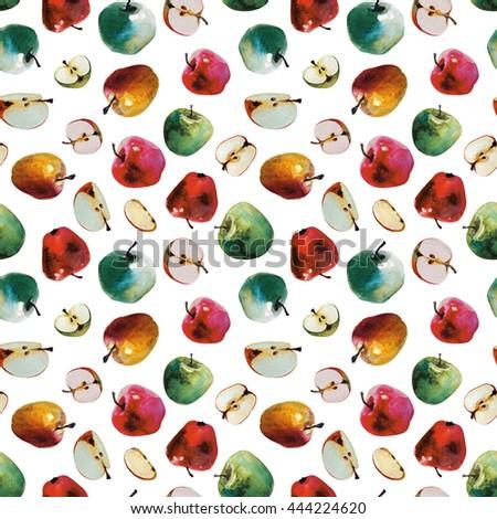 Apple seamless pattern. Watercolor - stock photo
