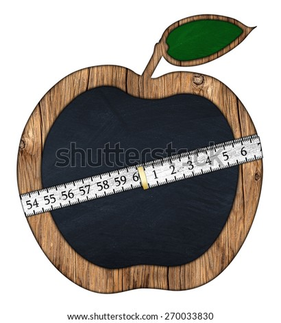 apple shaped blackboard with measuring tape - stock photo