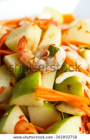 Apple shrimp salad in thai style, fruit salad.