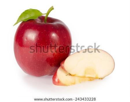 Apple slice  isolated on white background - stock photo
