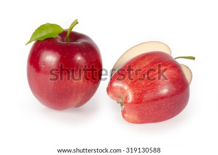 Apple slice  isolated on white background