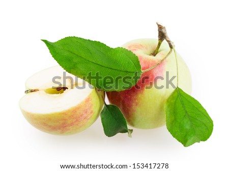 apple sliced isolated on white background - stock photo