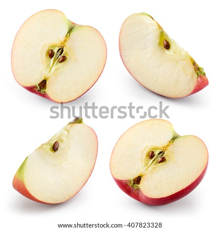 Apple slices isolated on white. Collection. With clipping path - stock photo