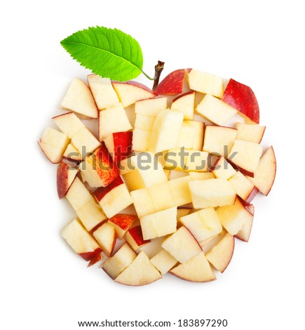 Apple slices with green leaf isolated on white background - stock photo