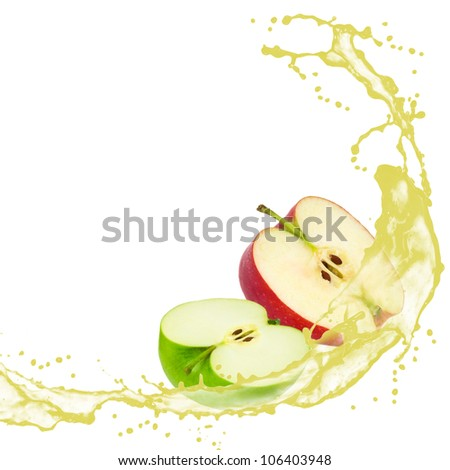 Apple slices with splash isolated on white - stock photo